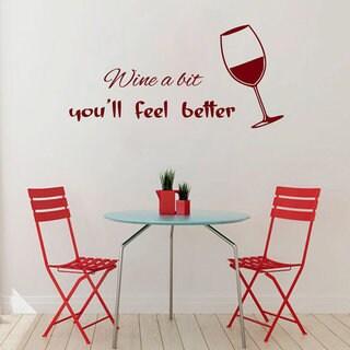 Glass of Wine Cafe Kitchen Decor Vinyl Sticker Home Decor Kids Art Wall Decor Sticker Decal size 33x