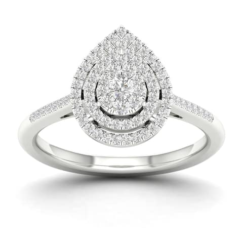 De Couer 1/4ct TDW Diamond Cluster Pear shape Ring - White