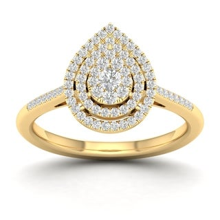 De Couer 1 4ct TDW Diamond Cluster Pear Shape Ring Yellow