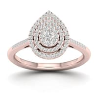 De Couer 1/4ct TDW Diamond Cluster Pear Shape Ring - Pink