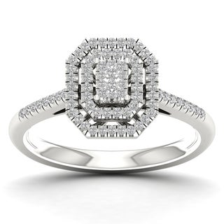 De Couer 1/4ct TDW Diamond Cluster Ring - White