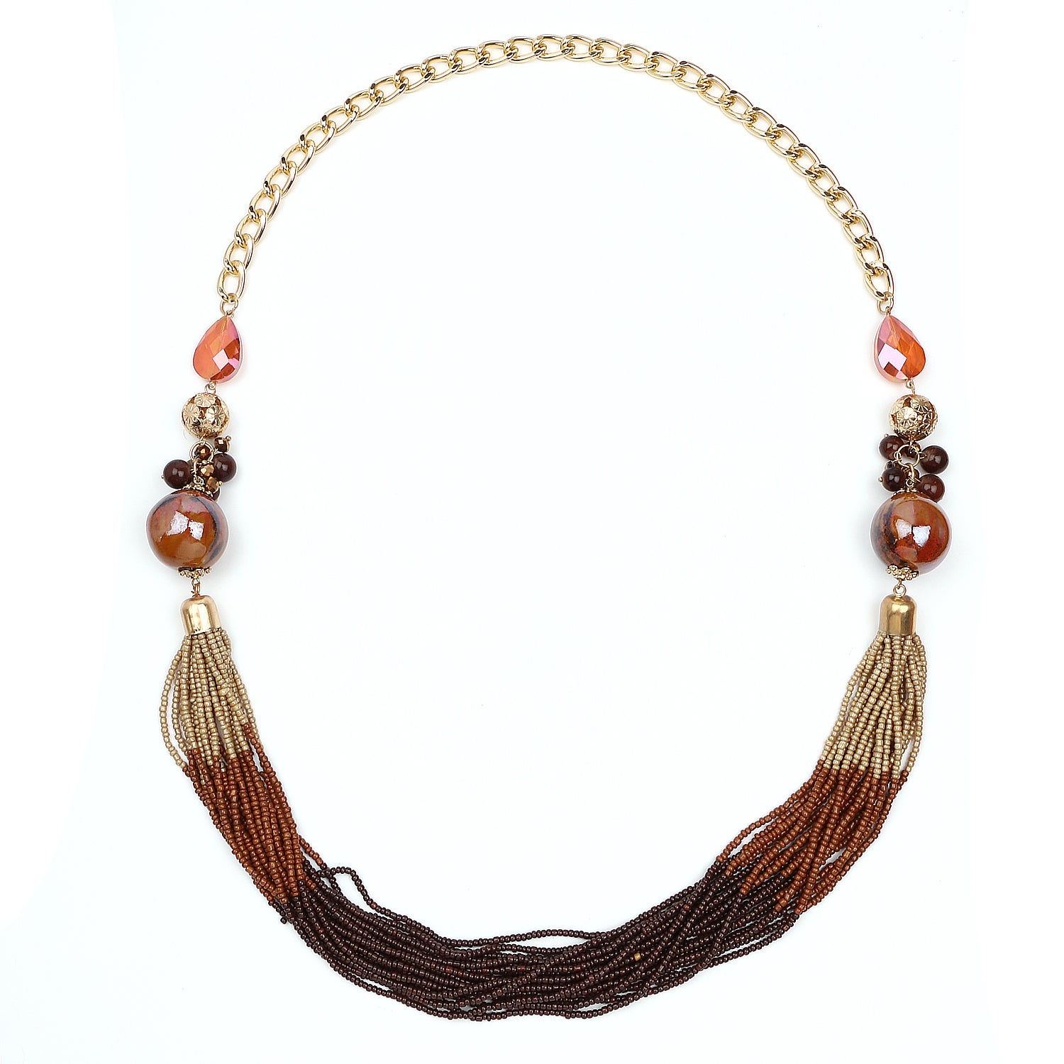 Liliana Bella Goldplated Handmade Brown Beaded Multicolor...
