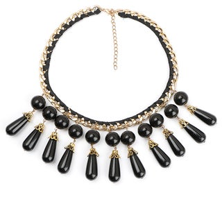 Liliana Bella Gold-plated Black Glass Bead Teardrop Bib Necklace