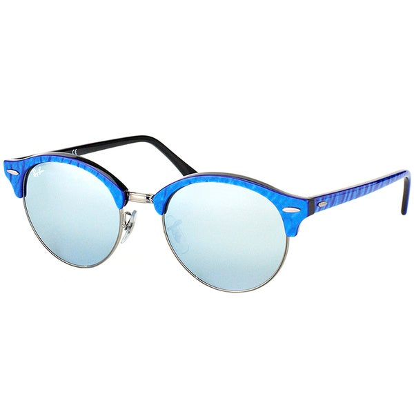 e89fb57dea12b Ray-Ban RB 4246 984 30 Clubround Wrinkled Blue On Black Plastic Clubmaster  Sunglasses