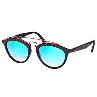 Ray-Ban RB 4257 6252B7 Gatsby II Matte Black Plastic Fashion Sunglasses with Blue Mirrored Gradient Lens