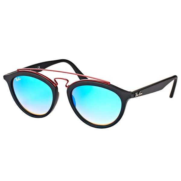 7a7a1fbe7b1 Shop Ray-Ban RB 4257 6252B7 Gatsby II Matte Black Plastic Fashion Sunglasses  with Blue Mirrored Gradient Lens - Free Shipping Today - Overstock.com - ...