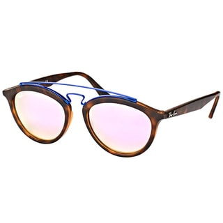 Ray-Ban RB 4257 6266B0 Gatsby II Matte Havana Plastic Fashion Sunglasses with Lilac Mirrored Gradient Lens