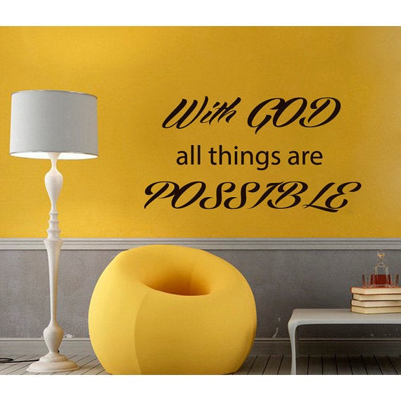 Shop Prayer Words With God All Things Are Possible Vinyl Sticker Home Decor Interior Design Sticker Decal Size 48x65 Color Black Overstock 14441592