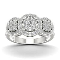 De Couer 1ct TDW Diamond Cluster Ring - White