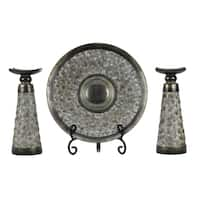 D'Lusso Designs Adelphi Collection Brown Polyresin Four-piece Charger, Stand and Two Candlestick Set