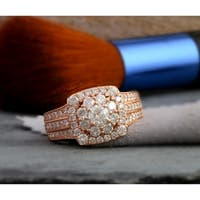 De Couer 2ct TDW Diamond Halo Engagement Ring - Pink