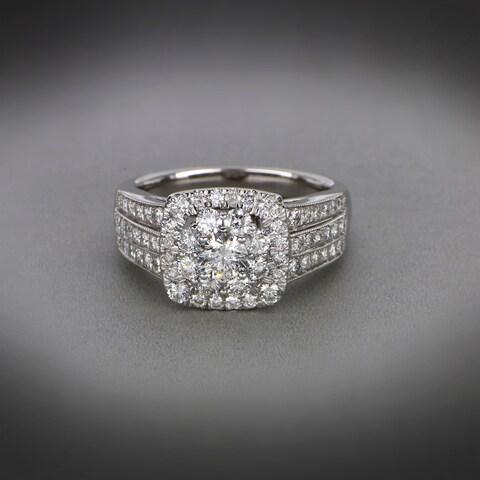De Couer 2ct TDW Diamond Halo Engagement Ring - White H-I