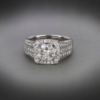 De Couer 2ct TDW Diamond Halo Engagement Ring - White H-I