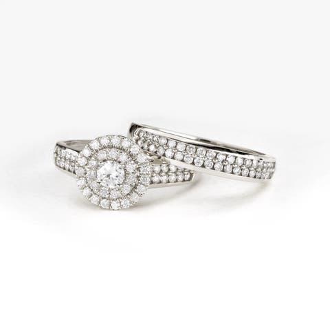 De Couer 1ct TDW Double Halo Diamond Bridal Ring - White H-I