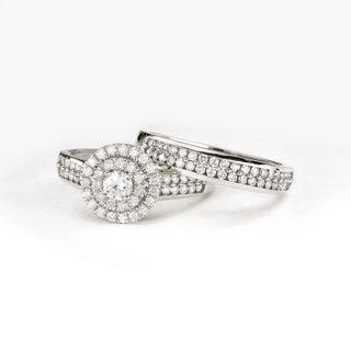De Couer 1ct TDW Double Halo Diamond Bridal Ring