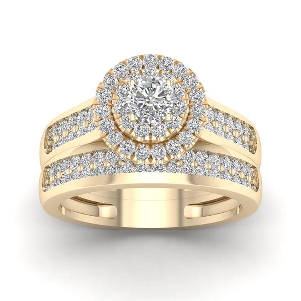 De Couer 1ct TDW Double Halo Diamond Bridal Ring - Yellow