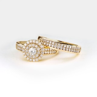De Couer 1ct TDW Double Halo Diamond Bridal Ring - Yellow