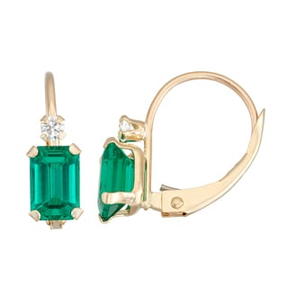 Gioelli 10K Yellow Gold Created Emerald Drop Earrings
