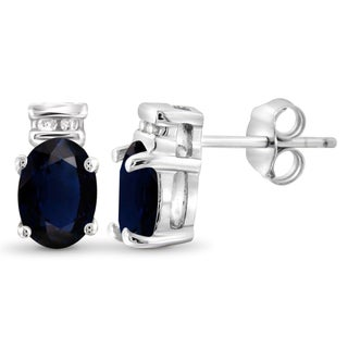 Jewelonfire Sterling Silver 1 3/8ct TW Sapphire and 1 1/5ct TDW White Diamond Earrings (H-I, I2-I3)