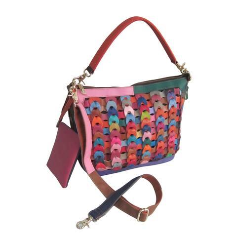 Amerileather Dixie Rainbow Leather Shoulder Handbag