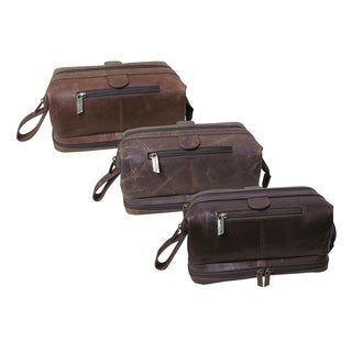 Amerileather Distressed Toiletry Bag with Bonus Accessories