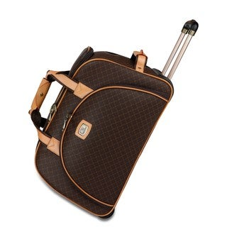 Rioni Signature Brown 21-inch Rolling Fashion Duffel Bag