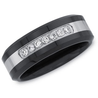 Men's Black Ceramic and Stainless Steel .15ct TDW Diamond Band (H-I, I2-I3)