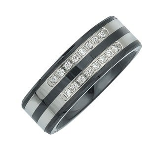 Men's Stainless Steel and Ceramic .20ct TDW Diamond Double Row Band (H-I, I3)