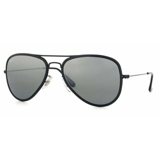 Ray-Ban RB3513M 153/82 Aviator Flat Metal Black Frame Polarized Silver Mirror 56mm Lens Sunglasses