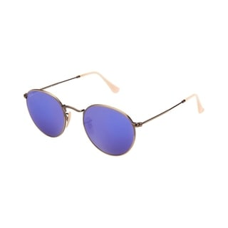 Ray-Ban RB3447 167/68 Round Bronze-Copper Frame Blue Mirror 50mm Lens Sunglasses
