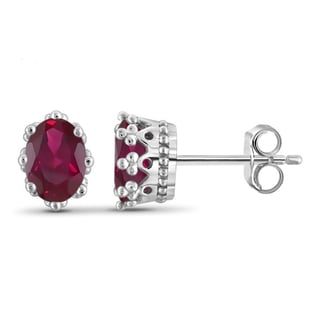 Jewelonfire Sterling Silver 1 7/8ct TW Ruby Crown Stud Earrings