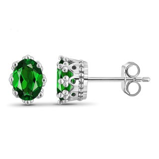 Jewelonfire Sterling Silver 1 5/8ct TW Chrome Diopside Crown Stud Earrings
