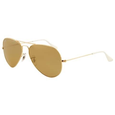 Ray-Ban RB3025 001/3K Aviator Gradient Gold Frame Brown/Silver Mirror 62mm Lens Sunglasses