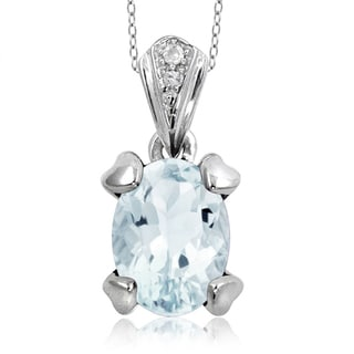 Jewelonfire Sterling Silver 1 1/6ct TW Aquamarine and White Diamond Accent Pendant