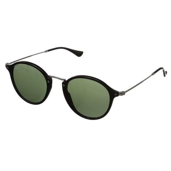 b9015b3485745 Ray-Ban RB2447 901 Round Fleck Black Silver Frame Green Classic 49mm Lens  Sunglasses