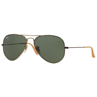 Ray-Ban RB3025 177 Aviator Distressed Gold Frame Green Classic 58mm Lens Sunglasses