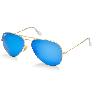 Ray-Ban RB3025 112/17 Aviator Flash Lenses Gold Frame Blue Flash 62mm Lens Sunglasses