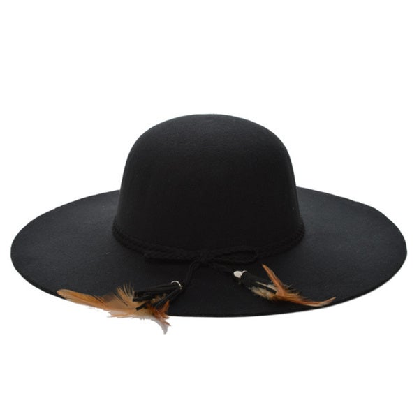 3289552ff11 Shop Mechaly Women s Feather Black Floppy Vegan Hat - Free Shipping On  Orders Over  45 - Overstock - 14442372