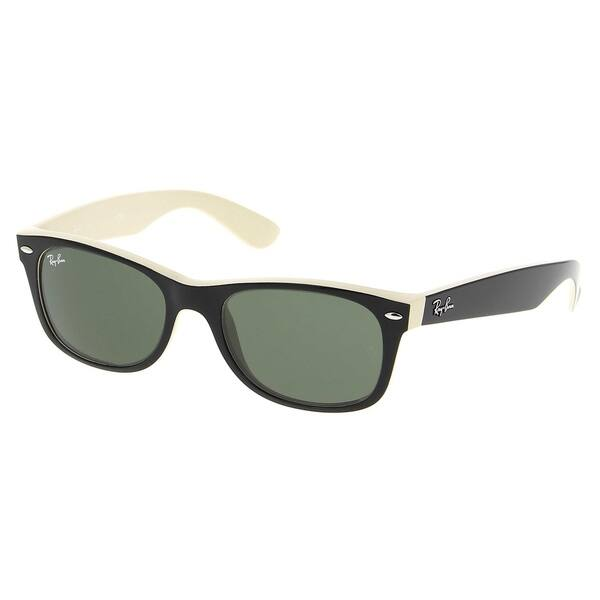 a26df51b6 Ray-Ban RB2132 875 New Wayfarer Color Mix Black/Light Brown Frame Green  Classic 55mm Lens Sunglasses