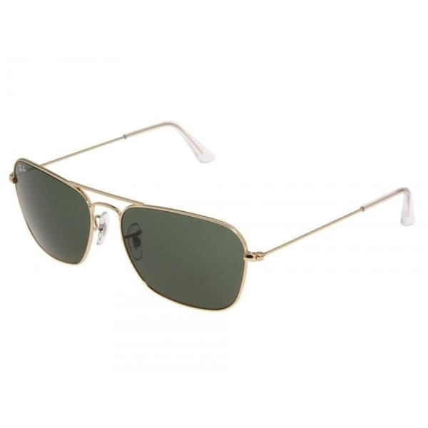6b1bfc723f Ray-Ban RB3136 001 Caravan Gold Frame Green Classic 58mm Lens Sunglasses