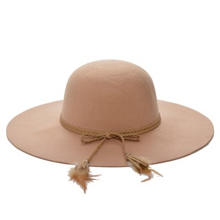 Mechaly Women's Beige Feather Floppy Vegan Hat