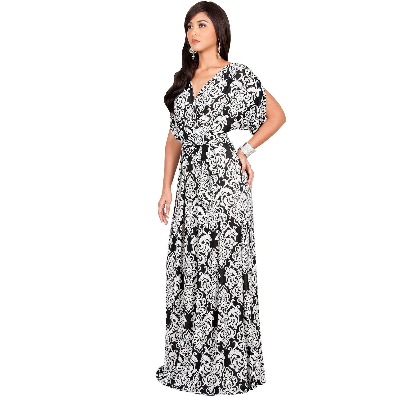 KOH KOH KOH KOH Women's Spandex Blend Long Lace Printed Formal Short Sleeve Maxi Dress 24a98f