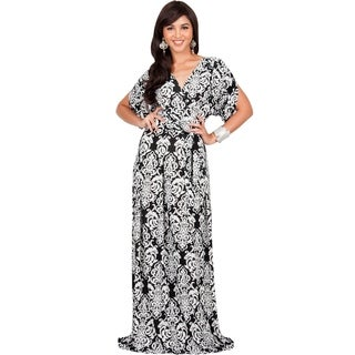 KOH KOH Women's Spandex Blend Long Lace Printed Formal Short Sleeve Maxi Dress