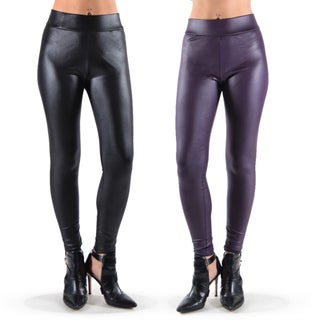 Juniors' Faux-leather Leggings (Set of 2) (3 options available)