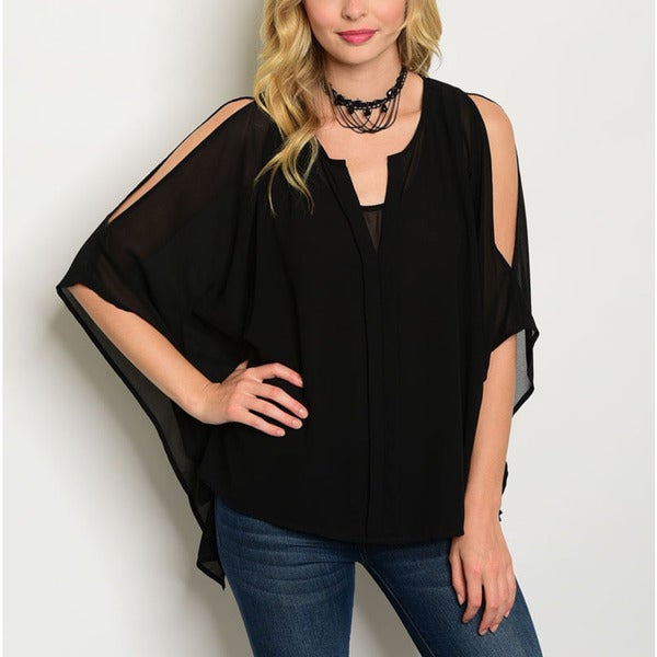 8ebb02c0e70d8a Shop JED Women's Cold Shoulder Black Batwing Sleeve Chiffon Top - Free  Shipping On Orders Over $45 - Overstock - 14442418