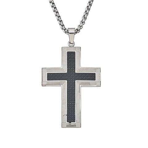 Men's Stainless-steel Carbon Fiber Cross Pendant