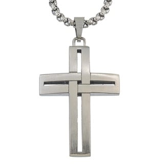 Ever One Grey Stainless Steel Wrap Cross Pendant