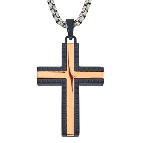 Ever One Men's Two-tone Black and Rose Stainless Steel Pyramid Cross Pendant
