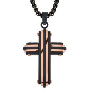 Ever ONe Men's Striped Black Rose Stainless Steel Cross Pendant