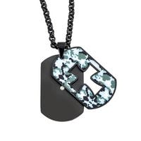 Ever One Men's Camouflage Stainless Steel Cut-out Cross Dog Tag Pendant